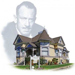 Image of John Steinbeck Silhouette over his child hood home The Steinbeck House in Salinas, CA
